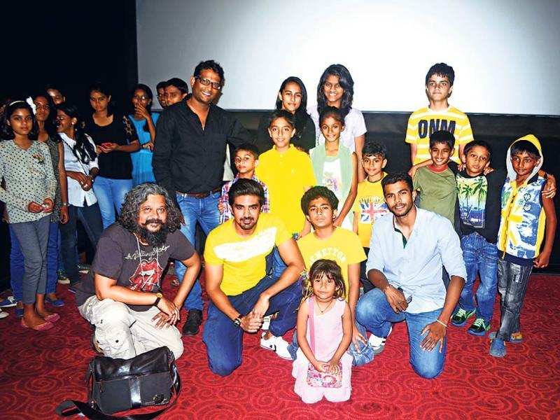 Film-maker Amole Gupte, actors Saqib Saleem and Partho Gupte, and skater Nikhilesh Tabhane (seated) with other skaters were at a movie screening.