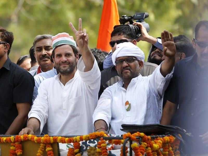 Congress candidate Ajay Rai with party vice-president Rahul Gandhi during an election campaign rally in Varanasi. (AP Photo)