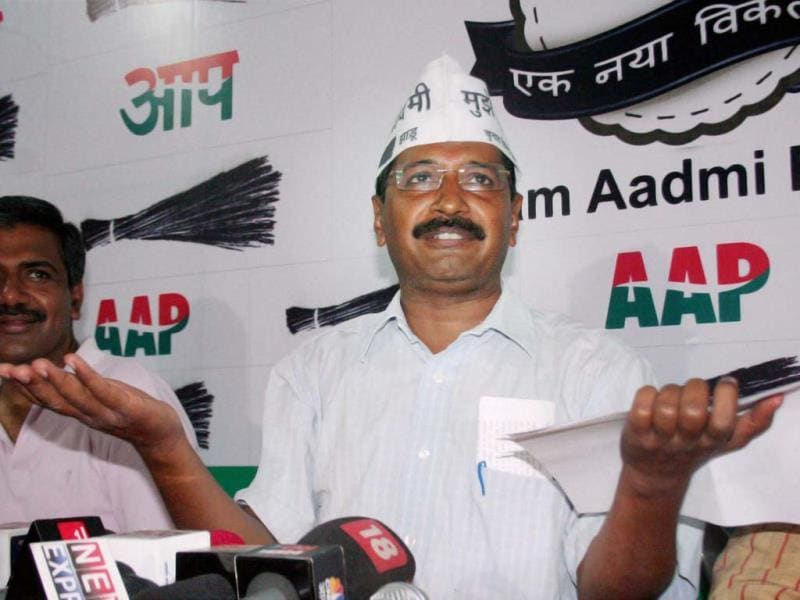AAP convener Arvind Kejriwal during a press conference in Varanasi. (PTI Photo)
