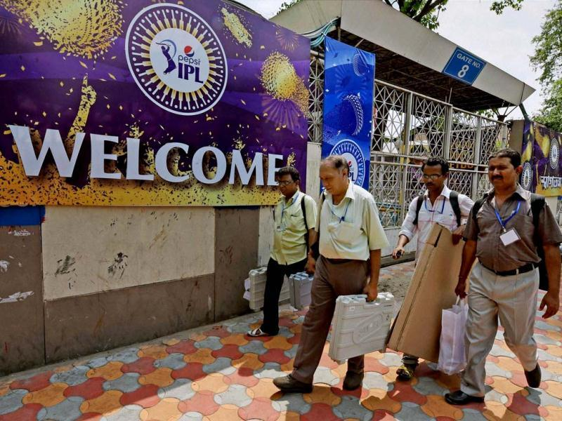Polling party officials leave for election duty from an EVM distribution centre in Kolkata . (PTI Photo)