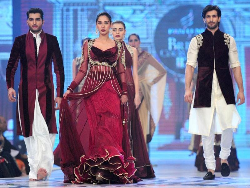 Pakistani designer Mansoor Akram's work at display. (AFP)