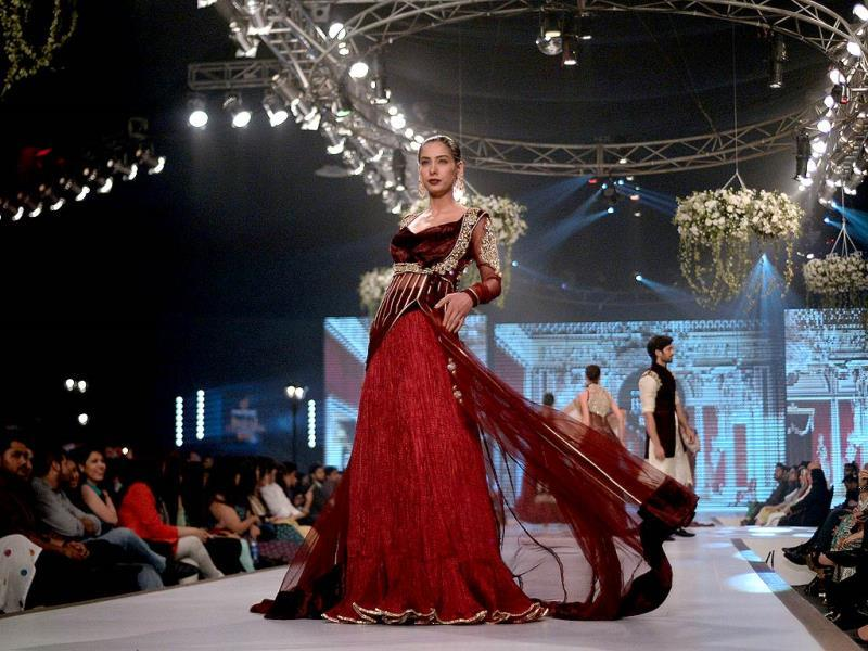 A creation by Pakistani designer Mansoor Akram. (AFP)