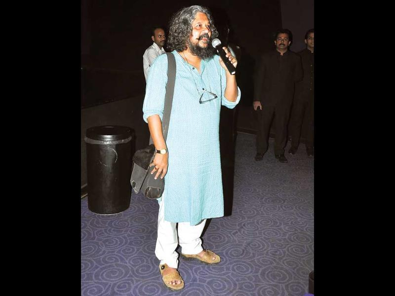 Film-maker Amole Gupte was spotted addresses the gathering. (HT PHOTO)