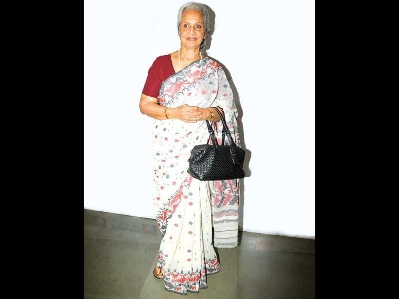 Veteran actor Waheeda Rahman was spotted at an event. (HT PHOTO)