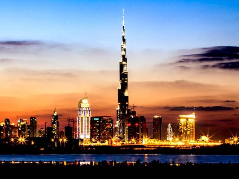The Burj Khalifa skyscraper is a new addition to Dubai's urban landscape and is the centrepiece of Downtown Dubai. The world's tallest building is surrounded by hotels, shopping places and a host of entertainment options. (Getty)