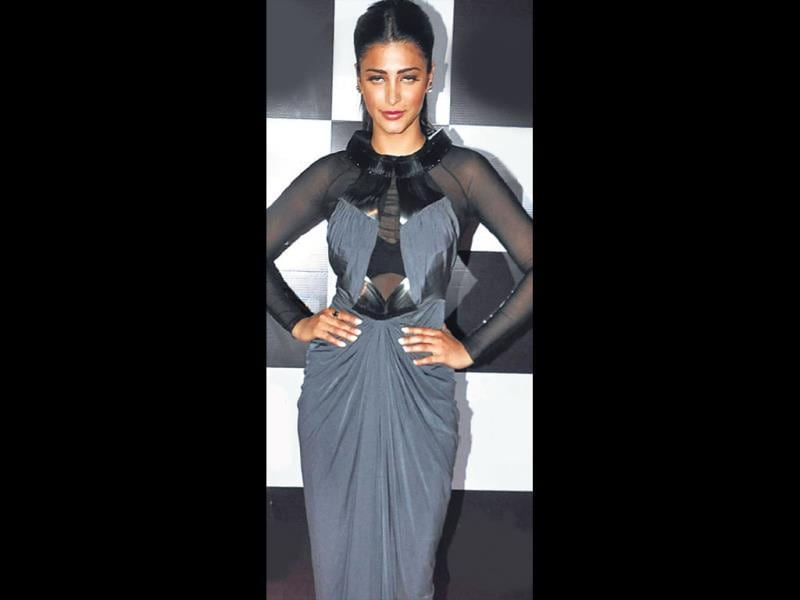 Shruti Haasan was spotted at an event. (HT PHOTO)