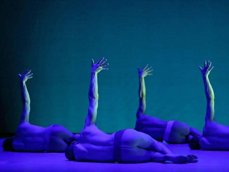 Members of the British male dance ensemble BalletBoyz perform during a dress rehearsal at the Sydney Opera House in Sydney. (AP Photo/Rick Rycroft)