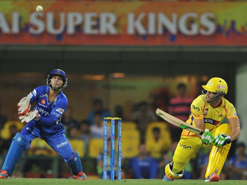Francois du Plessis player of Chennai Super Kings (CSK) plays against Rajasthan Royals during the IPL-7 match at JCA International Cricket Stadium in Ranchi. (Photo-Parwaz Khan- Hindustan Times )