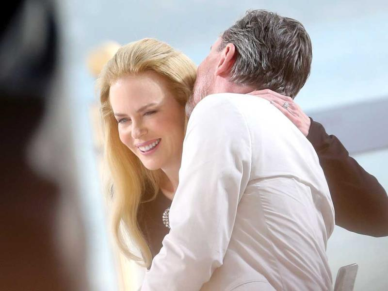 Nicole Kidman with British actor Tim Roth on the set of the French tv channel Canal Plus on the eve of the 67th edition of the Cannes Film Festival in Cannes. (AFP)