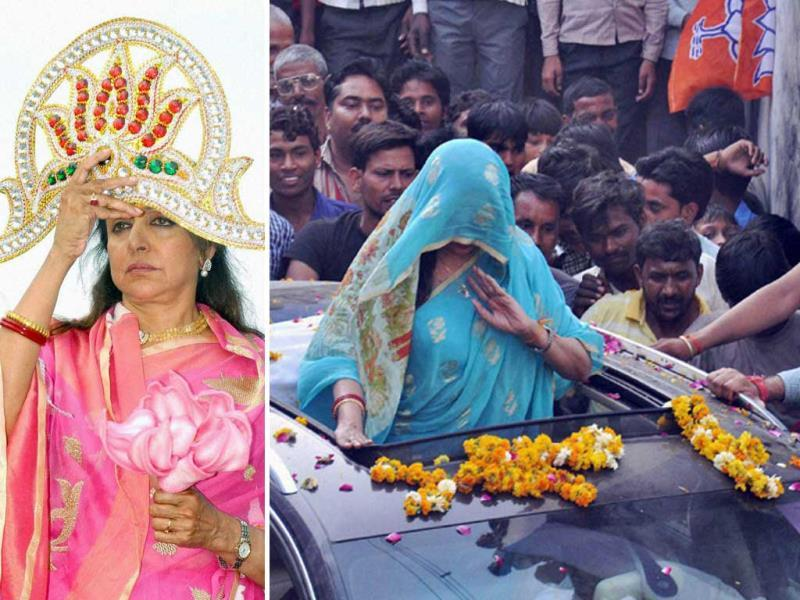 Actor and BJP candidate Hema Malini struck many interesting poses during her campaign trail for the general elections this year. With pictures of her in ghoonghat (veil), struggling with a hand pump and a dramatic mukut (headgear), she clearly ranks top on the list.