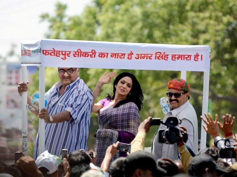 While campaigning for Rashtriya Lok Dal (RLD) leader Amar Singh in Fatehpur Sikri, Sridevi was in her Hawa Hawai (Mr India) mode.