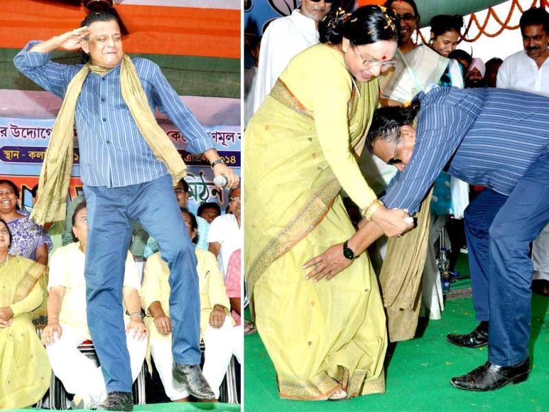 Trinamool Congress's Rajya Sabha MP Mithun Chakraborty may have got on with age, but dance still remains his forte. While campaigning for TMC candidate Sandhya Roy in West Midnapore district of West Bengal, the disco dancer flaunted some of famous moves. (PTI Photos)