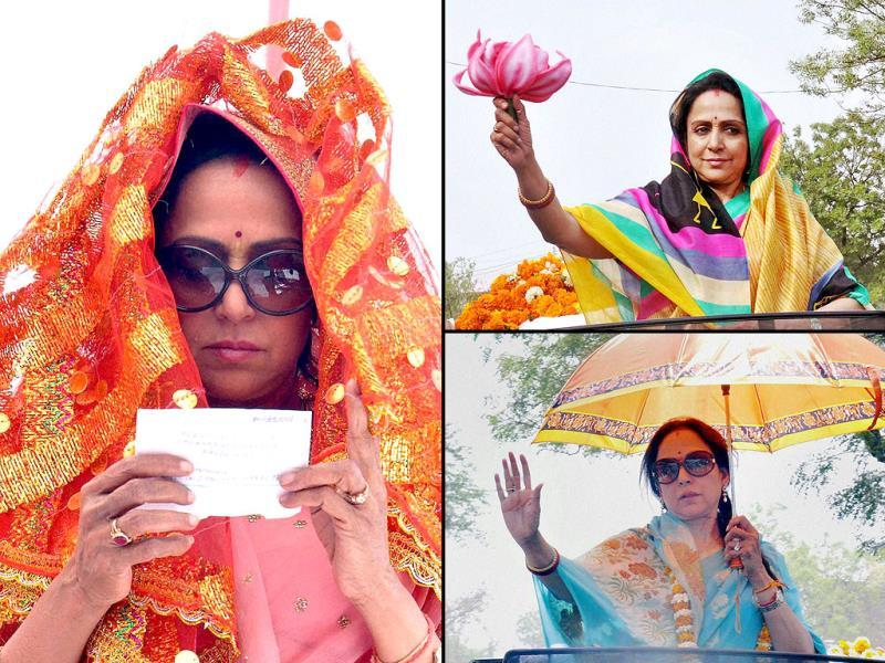 Elections 2014 wouldn't have been the same without celeb candidates who added so much colour. Hema Malini was a torch bearer in many respects - seen here with lotus in her hand. The April-May heat certainly got to her - watch her tackle the Meerut heat.