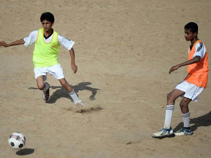 Pakistani local youth participate in a training session at a local stadium in Karachi. (AFP Photo)