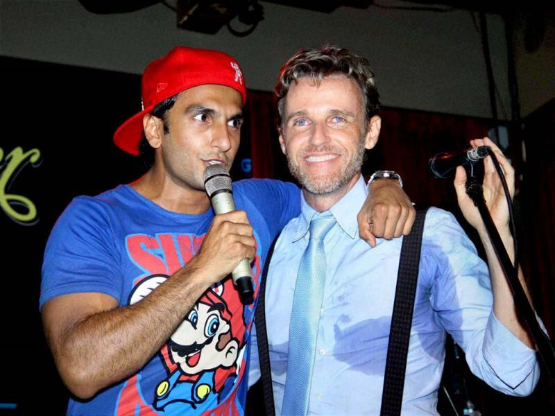 Ranveer Singh at the launch of music director Mikey Mccleary's new music album in Mumbai on Wednesday. (PTI Photo)