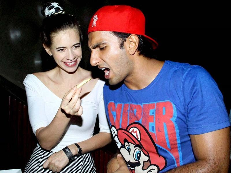 Ranveer Singh and Kalki Koechlin got playful on Wednesday at music director Mikey Mccleary's new music album in Mumbai. Browse through(PTI Photo)