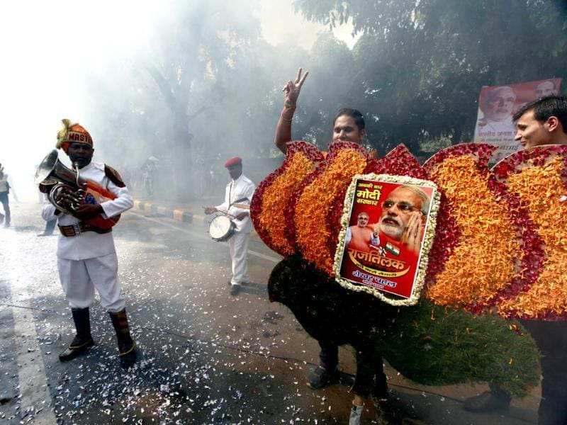 Loud celebratory music, fireworks, flowers- BJP supporters have it all. (Raj K Raj/HT Photo)