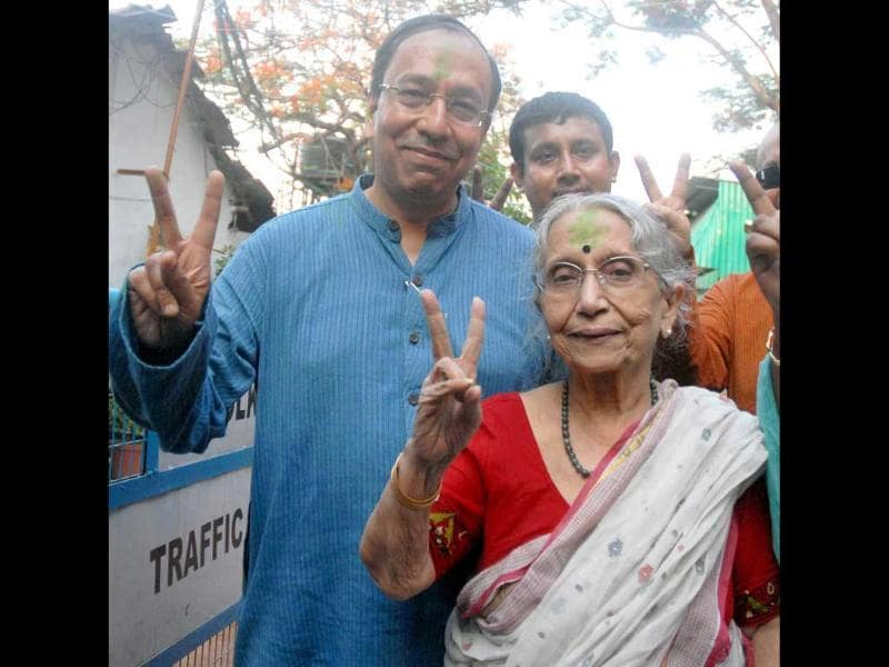 Trinamool Congress candidate from Jadavpur Sugata Bose with his mother Krishna Bose (R) after his win in Lok Sabha election, in Kolkata. (PTI Photo)