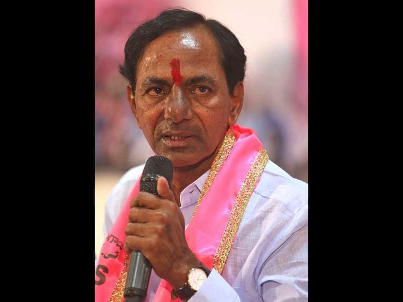 Telangana Rashtra Samithi (TRS) party president K Chandrasekar Rao speaks to the media at his party headquarters in Hyderabad. (AP Photo)