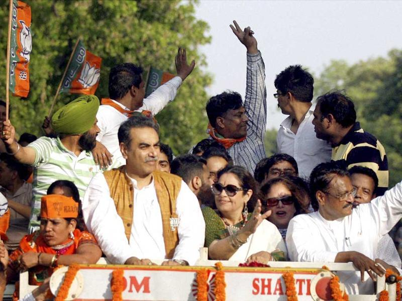 BJP candidate from Chandigarh Kirron Kher during a victory rally after winning the Lok Sabha election in Chandigarh. (PTI Photo)