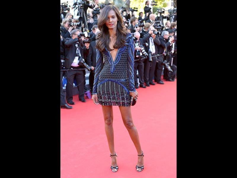 Liya Kebede didn't disappoint in a Roberto Cavalli dress and Jimmy Choo sandals. (AFP Photo)