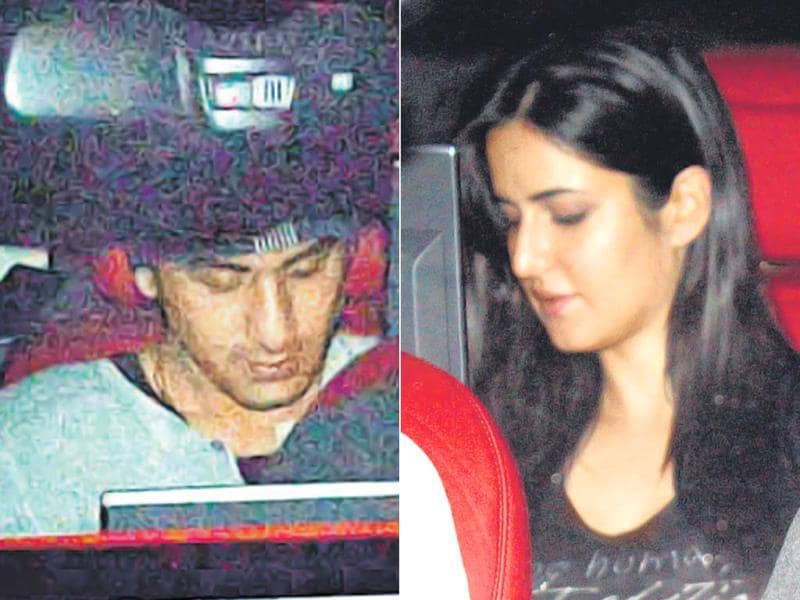 Ranbir Kapoor and Katrina Kaif outing on Friday started in Santacruz and ended at Karan Johar's residence in Bandra. Here, Ranbir and Katrina are seen leaving together. (Photo: Viral Bhayani)
