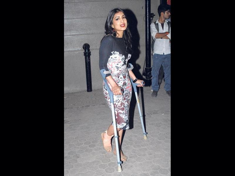 Pallavi showed up at an event on crutches because of a ligament tear she had suffered on her right ankle during dance rehearsals last week. (Photo: Prodip Guha)