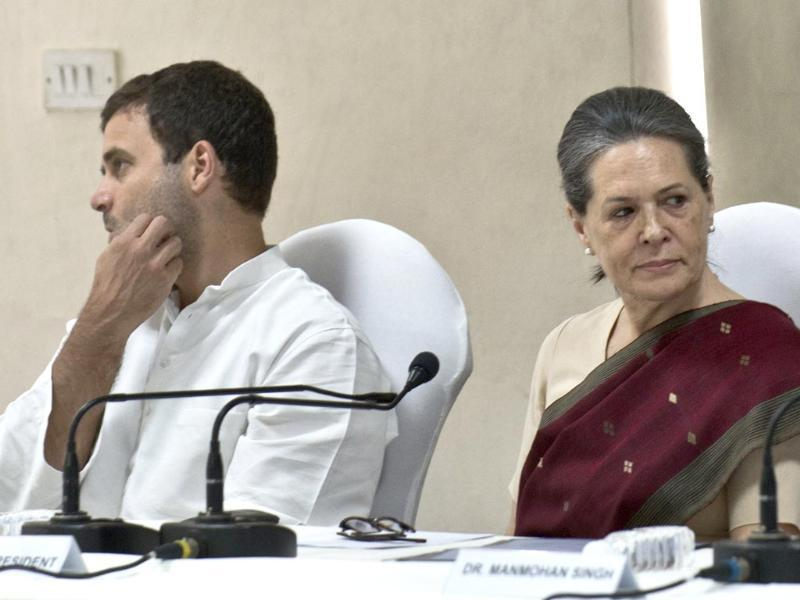Congress party president Sonia Gandhi and vice President Rahul Gandhi attend the Congress Working Committee (CWC) meeting in New Delhi. (AFP photo)