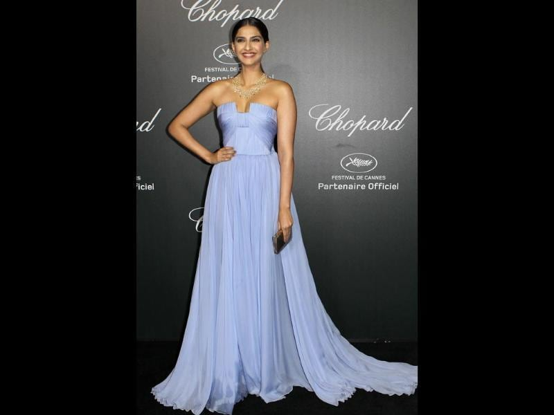 Sonam Kapoor arrives to the Chopard 'Backstage party' on the sidelines of the 67th Cannes film festival at the Cannes-Mandelieu aerodrome.