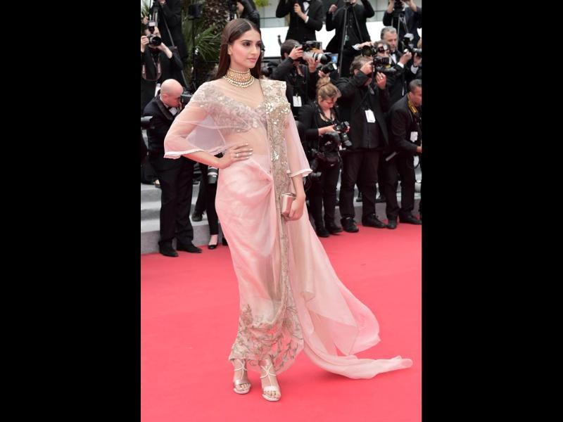 Sonam Kapoor in a pale pink Anamika Khanna couture net sari dress at Cannes.