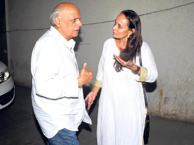 Filmmaker Mahesh Bhatt refused to pose for pictures saying he hadn't shaved his beard. He had to be convinced by Soni Razdan that it was fine to pose without having a proper shave. (Photo: Prodip Guha)