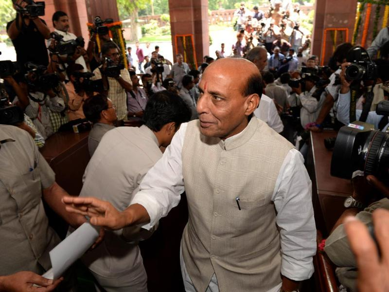 BJP president Rajnath Singh arrives in Parliament in New Delhi. (AFP photo)