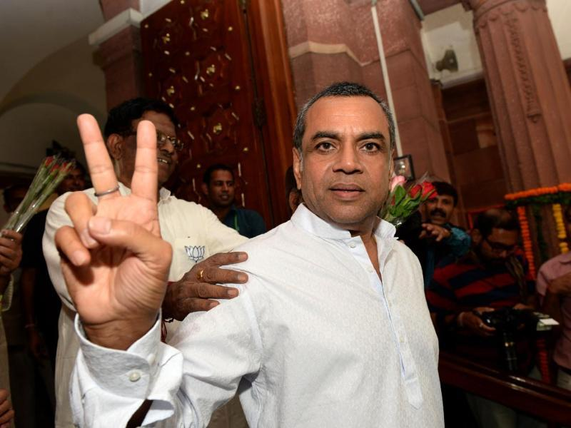 Newly-elected BJP Member of Parliament and Bollywood actor Paresh Rawal arrives in Parliament in New Delhi. (AFP photo)