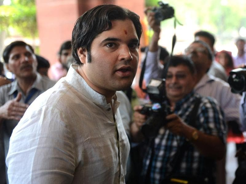 Newly-elected BJP Member of Parliament Varun Gandhi arrives in Parliament in New Delhi. (AFP photo)