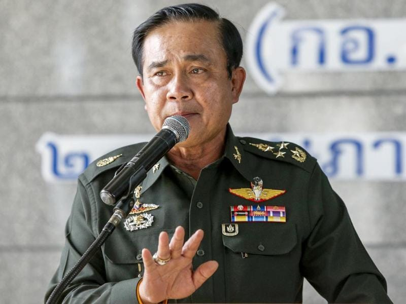 Thai Army chief General Prayuth Chan-ocha gestures during a news conference at The Army Club after the army declared martial law nationwide to restore order, in Bangkok. (Reuters photo)