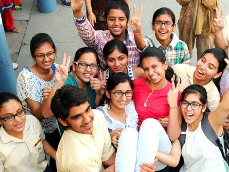 Students celebrating after the declaration of ICSE board class 10 result in Patiala. (Bharat Bhushan/HT file photo)