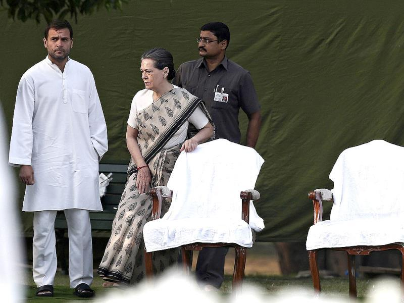 Congress party chief Sonia Gandhi along with Rahul Gandhi arrives at her husband and former Indian Prime Minister Rajiv Gandhi's memorial, on the occasion of his 23rd death anniversary, in New Delhi. (Reuters)