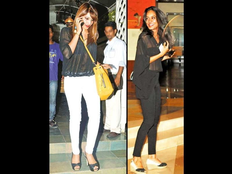 Interestingly, both Bipasha and Lisa were spotted separately at Bandra and Juhu respectively wearing similar black see-through tops. (HT PHOTO)
