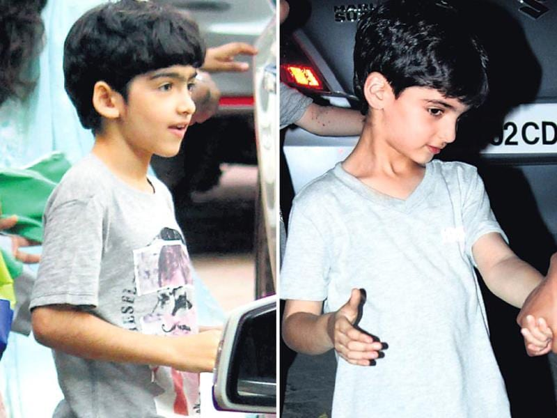 Hrithik and Sussanne Roshan's sons Hrehaan and Hridhaan at the birthday bash. (HT PHOTO)