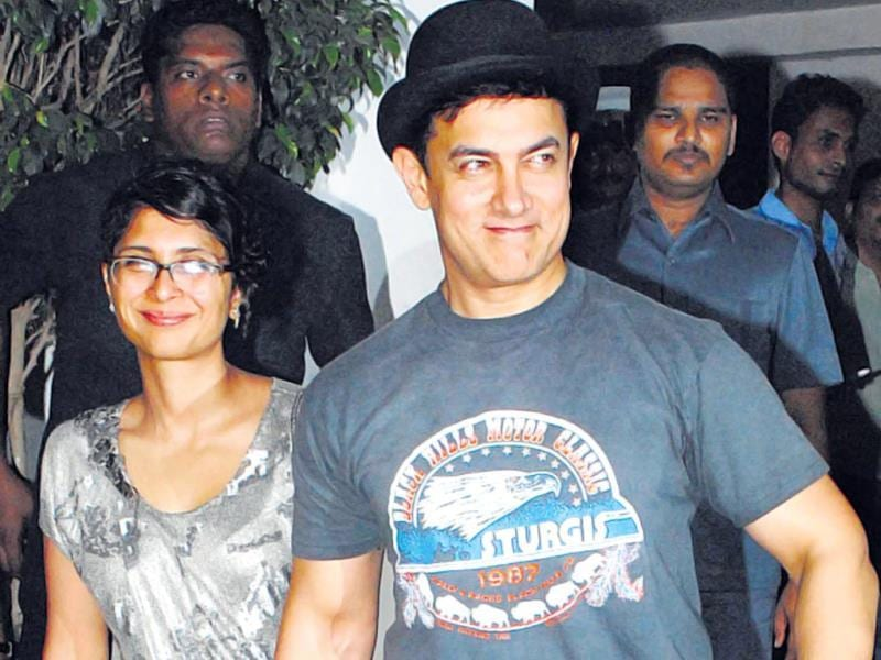 Aamir Khan with his wife, Kiran Rao, were at the party. (HT PHOTO)