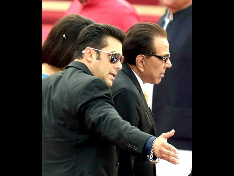 Actors Salman Khan and Dharmendra at the swearing-in ceremony of the NDA government at Rashtrapati Bhavan in New Delhi. (PTI Photo)