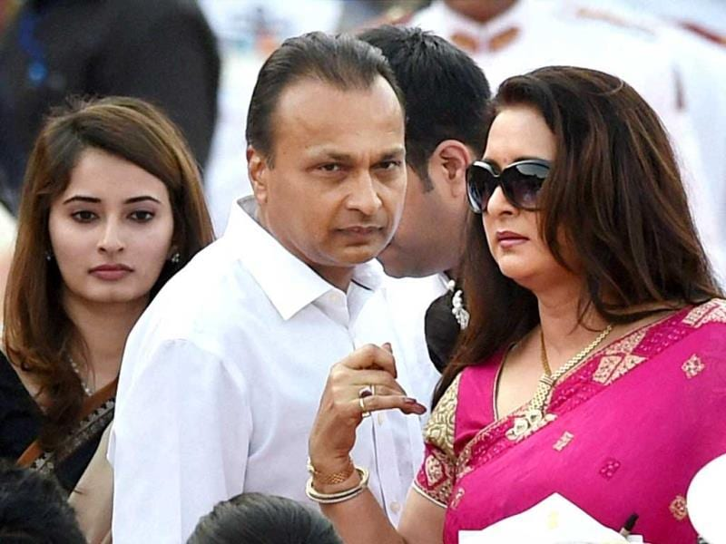 Industrialist Anil Ambani and actress Poonam Dhillon at the swearing-in ceremony of the NDA government at Rashtrapati Bhavan in New Delhi. (PTI Photo)