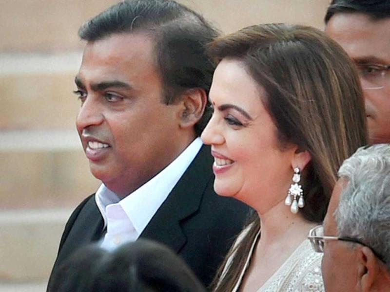 Industrialist Mukesh Ambani and his wife Nita at the swearing-in ceremony of the NDA government at Rashtrapati Bhavan in New Delhi. (PTI Photo)