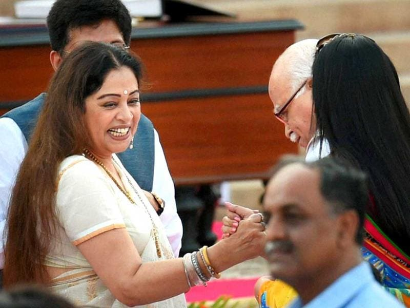 BJP leaders Kirron Kher and LK Advani at the swearing-in ceremony of the NDA government at Rashtrapati Bhavan in New Delhi. (PTI Photo)