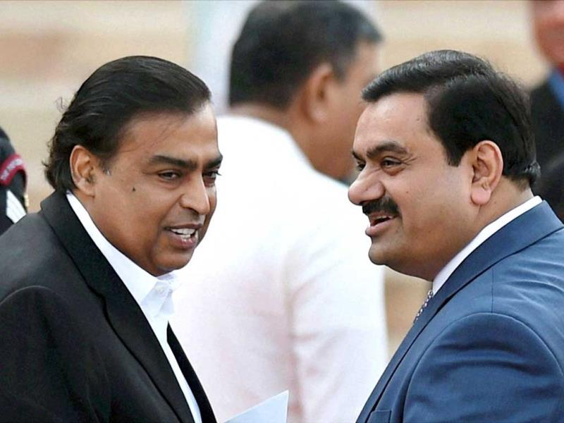 Industrilaists Mukesh Ambani and Gautam Adani at the swearing-in ceremony of the NDA government at Rashtrapati Bhavan in New Delhi. (PTI Photo)