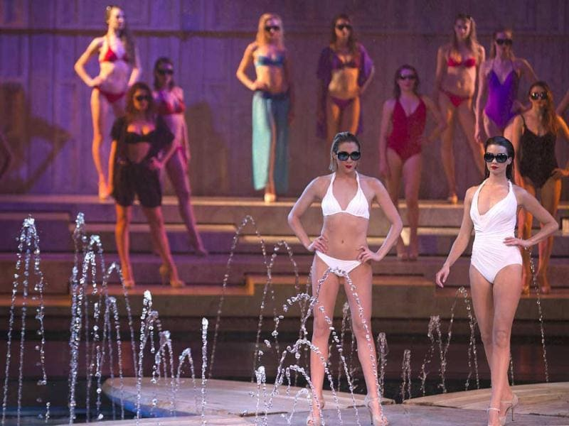 Models present creations by the French Lejaby lingerie house during a fashion show marking the 130th anniversary of the company's creation, at the Lido in Paris. (AFP)