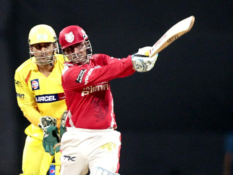 Kings XI Punjab player Virender Sehwag plays a shot during practice match between Kings XI Punjab and Chennai Super Kings at Wankhede Stadium in Mumbai. (HT photo/Kunal Patil)
