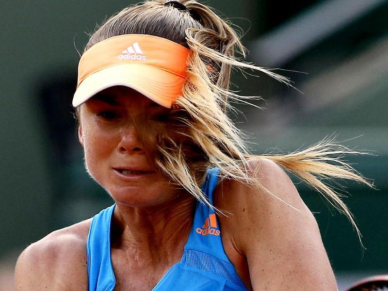 Slovakia's Daniela Hantuchova returns the ball to Germany's Angelique Kerber during their third round match of the French Open at Roland Garros, in Paris. (AP Photo)