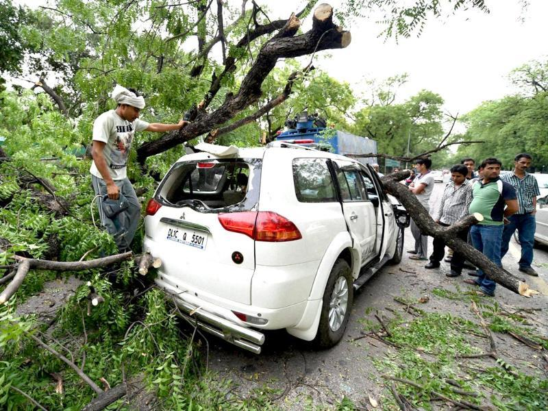A tree branch falls on a car near Gymkhana Club after a storm accompanied by dark clouds in New Delhi. (PTI photo)