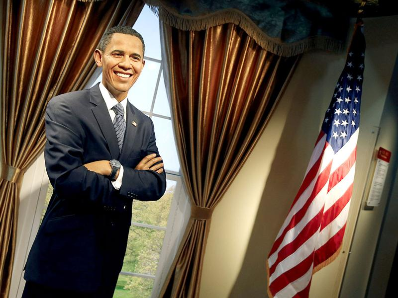 A wax figure of US President Barack Obama is displayed at the Madame Tussauds museum in Beijing China. (EPA Photo)